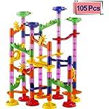 Elongdi Marble Run Race Coaster Set, Marble Run Railway Toys [ 105 Pieces ] Construction Toys Building Blocks Set Marble Run Race Coaster Maze Toys Kids