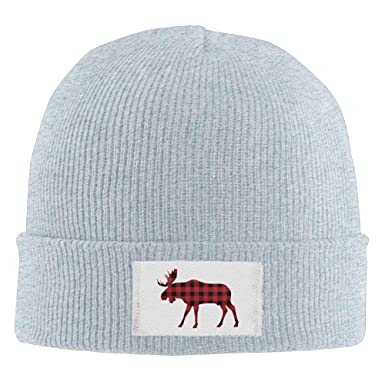 Red Black Plaid Deer Moose Buffalo Winter Warm Knit Hats Skull Caps Thick Cuff  Beanie Hat ff8208922515