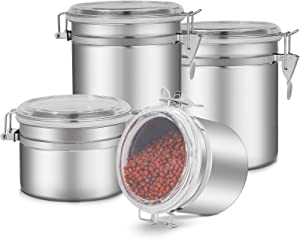 4-Piece Stainless Steel Airtight Canister Set, Kitchen Storage Jar Container Canister, Food Storage Container with Clear Arylic Lid & Locking Clamp, Tea Coffee Sugar Flour Canisters