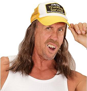 Cappellino baseball stile rednecks Berretto da camionista con capelli finti Berretta autista di bus Base Cap Accessorio abbigliamento conducente di TIR Cappello con visiera conducente di camion look