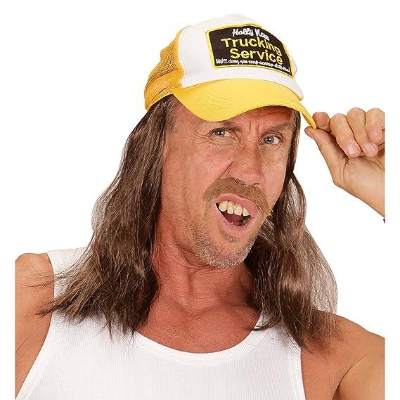 36c6fc56b0d NET TOYS Trucker Cap with hair Rednecks Baseball Cap truckman Hillbilly  headgear Bus driver costume accessory hick outfit accessories   Amazon.co.uk  Toys   ...