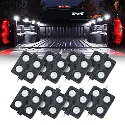 Xprite New Version LED Rock Lights Truck Bed Rail Light 32 LED Side Marker Lighting Kit w/Switch, for RV Boat Cargo Pickup Bed Underbody System White - 8pc: Automotive