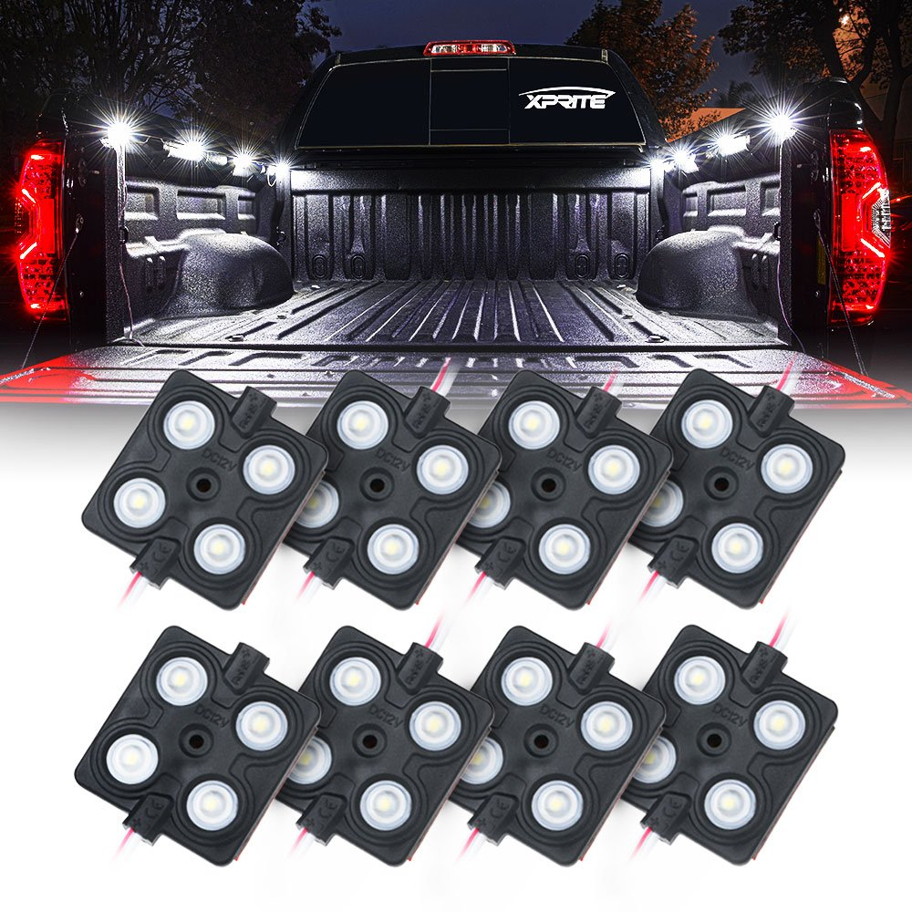 Xprite New Version LED Rock Lights Truck Bed Rail Light 32 LED Side Marker Lighting Kit w/Switch, for RV Boat Cargo Pickup Bed Underbody System White - 8pc DL-002-L4-W