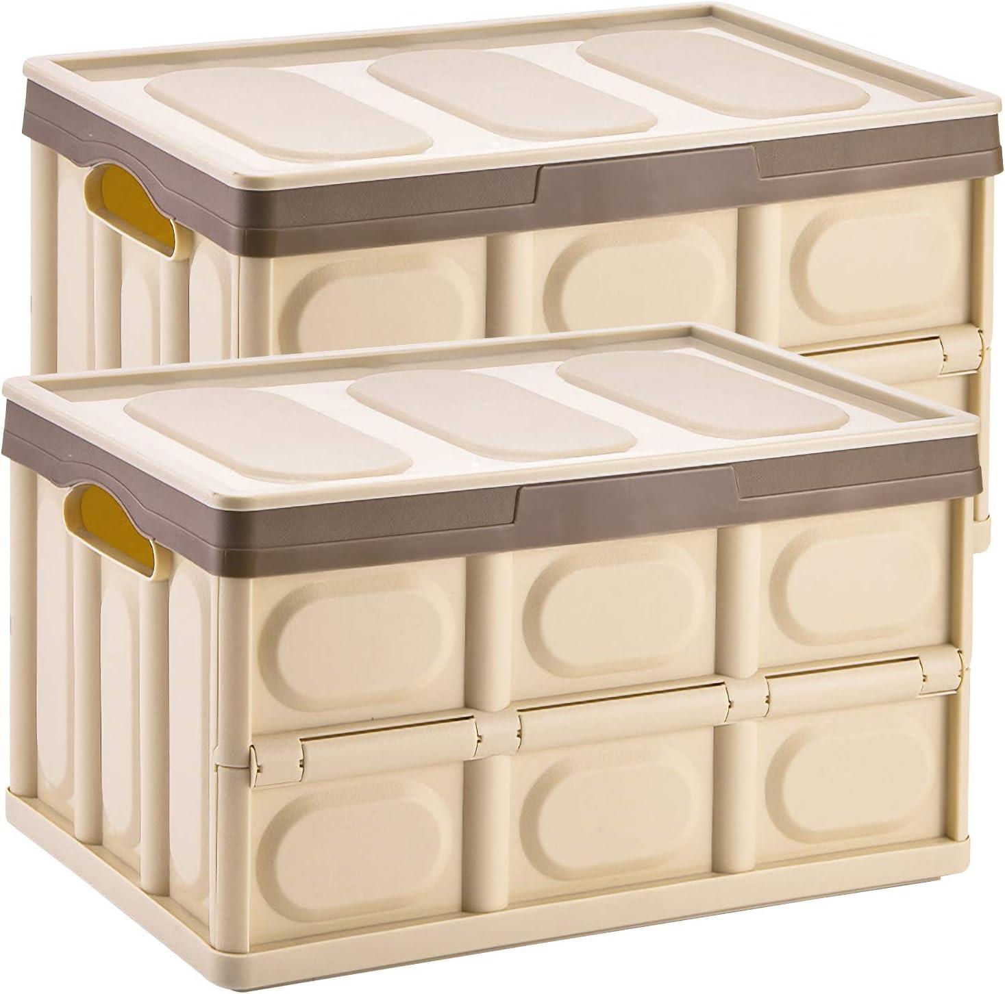 Yorbay Cajas de Almacenamiento Plegables de Plástico, 2 Unidades Contenedor Almacenaje Plegable Organizador con Tapa Adjunta para Oficina/Hogar/Habitación (Marrón, 55L)