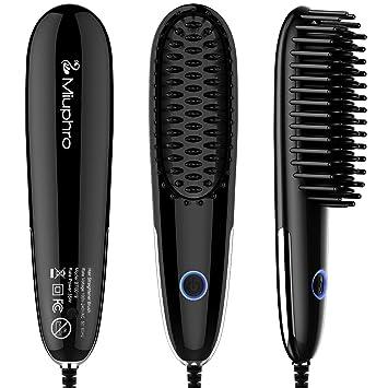 miuphro Mini pelo cabello cepillo, portátil rápido calefacción pelo alisado de Peine Plancha de pelo con temperatura controlada + auto-shut Off: Amazon.es: ...