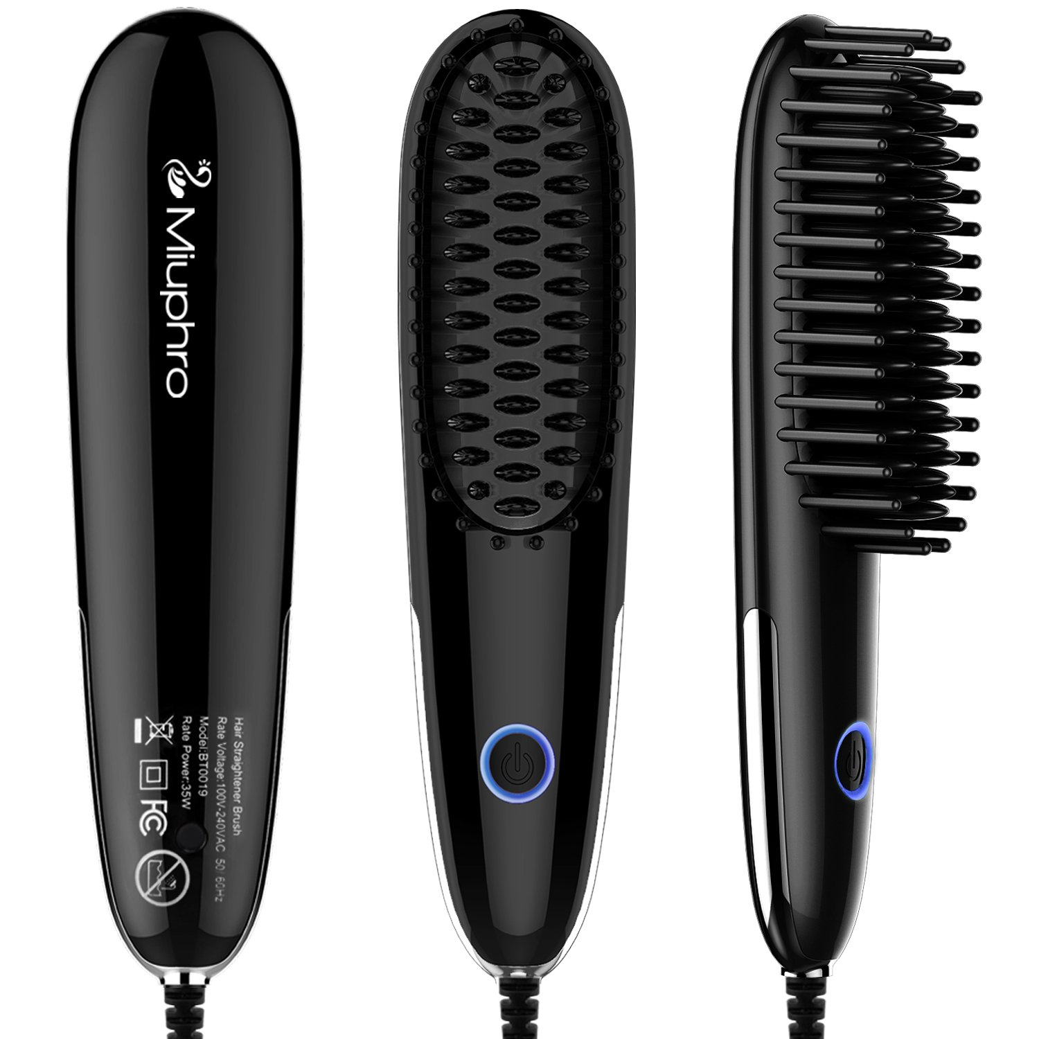 Miuphro Mini Hair Straightener Brush, Suitable for Various Hairstyles & People, Portable Lightweight+Adjustable Temperature Fast Heating Hair Straightening Brush, Auto Shut Off + Anti Scald&Frizz Comb