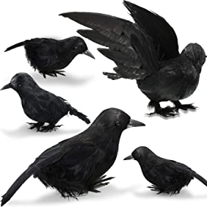 5 Pieces 3 Style Halloween Realistic Handmade Black Feathered Crow Fly and Stand Crows Ravens Birds Halloween Prop Décor for Outdoor or Indoor Decoration