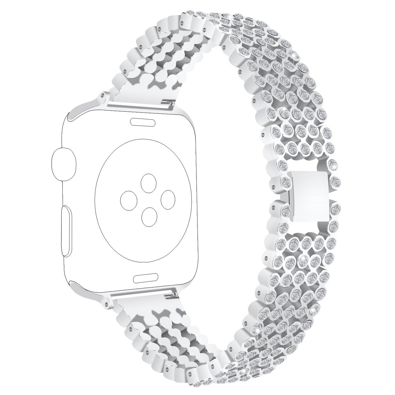 交換用for Apple Watchバンド38 mm 42 mm、ruentechメタルブレスレットBling Blingクリスタルスタイル時計バンドストラップiWatchシリーズ3シリーズ、2シリーズ1、スポーツ、Editionメンズ/レディース B077N72CBK 38MM|シルバー シルバー 38MM