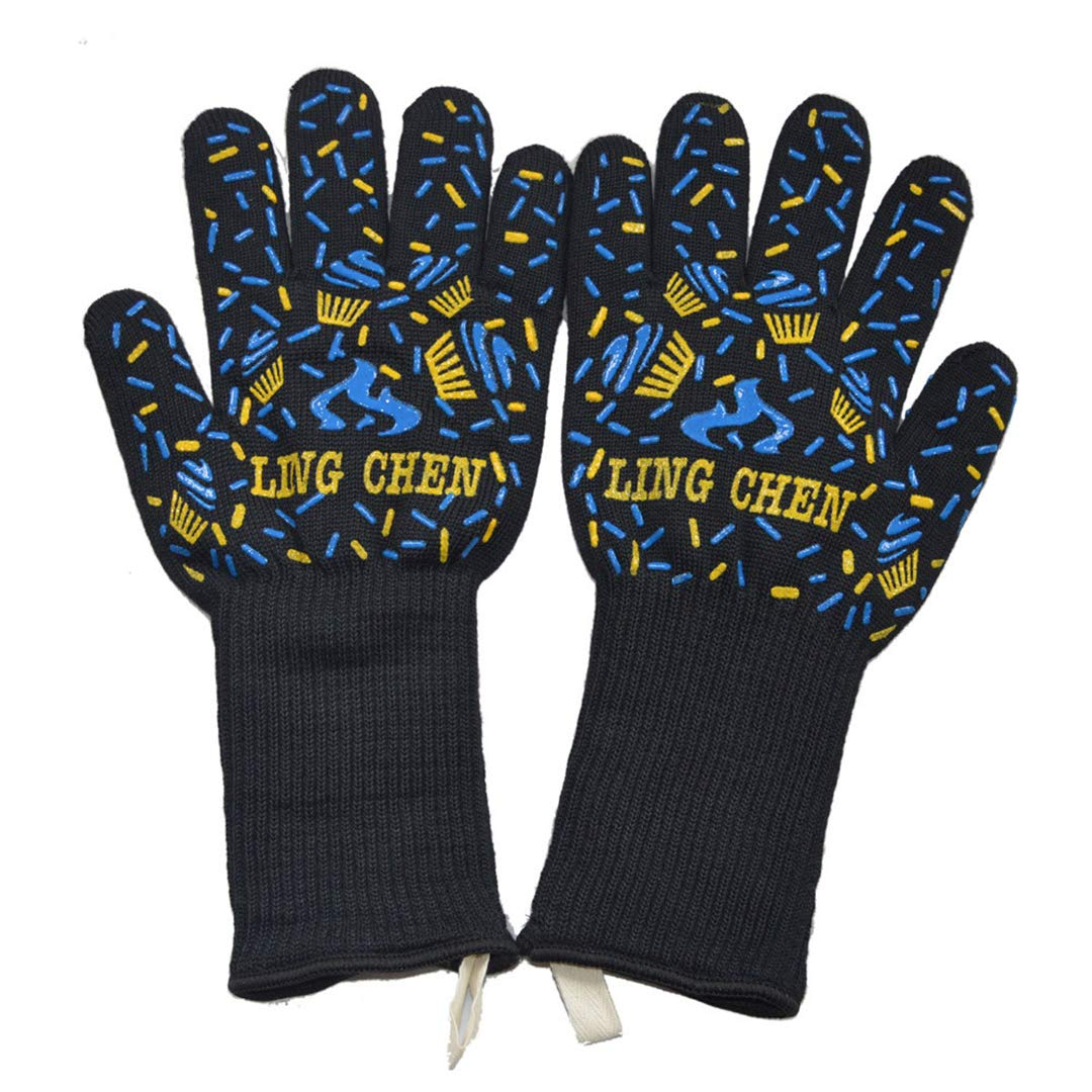 ProtectionShTa Centigrade Extreme Heat Resistant BBQ Gloves Lining Cotton for Cooking Baking Grilling Oven Mitts D