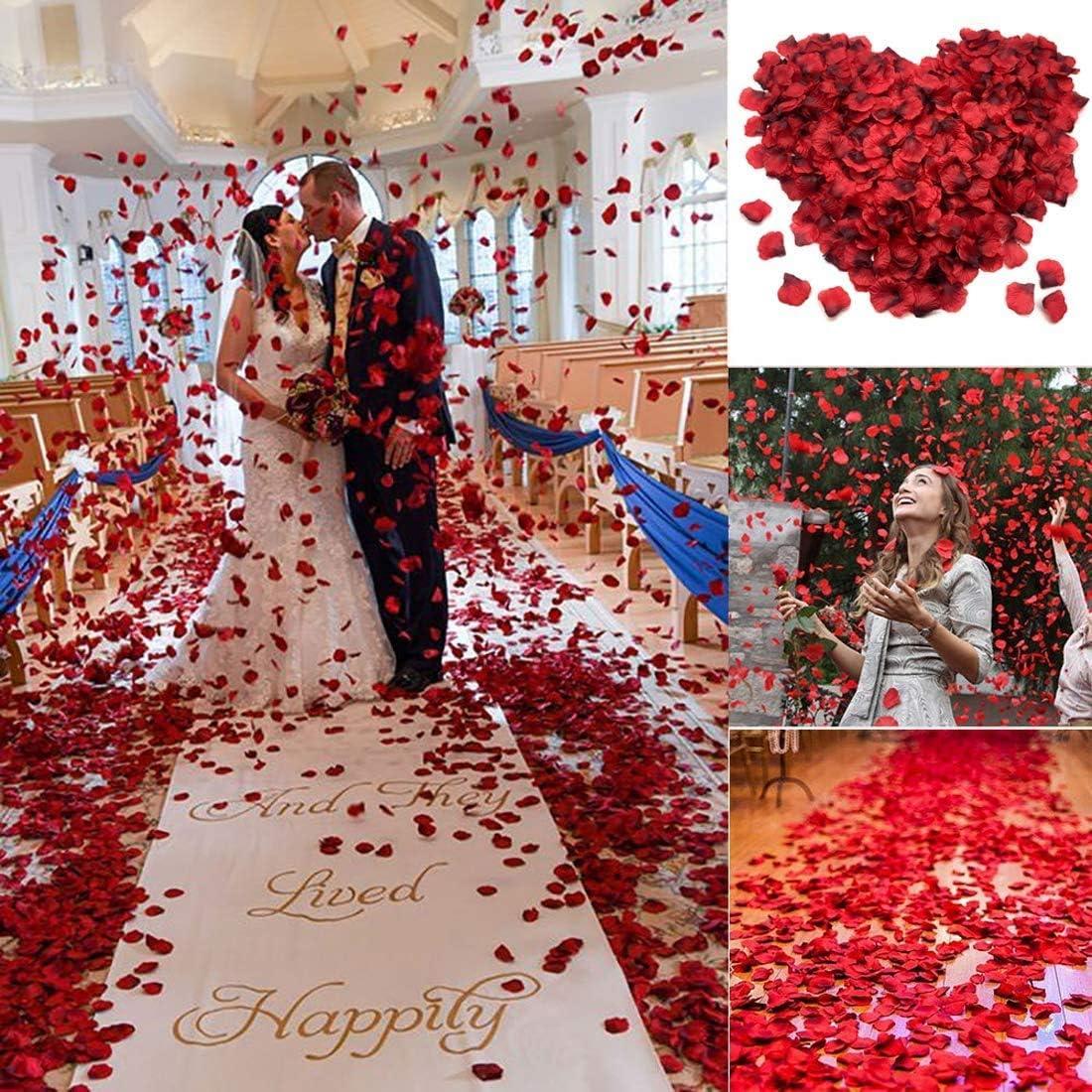 Saint-Valentin et Atmosph/ère Romantique Bleu FUJIE 1500 Pi/èces P/étales Roses Artificielles Bleu en Soie Confetti pour F/ête de Mariage