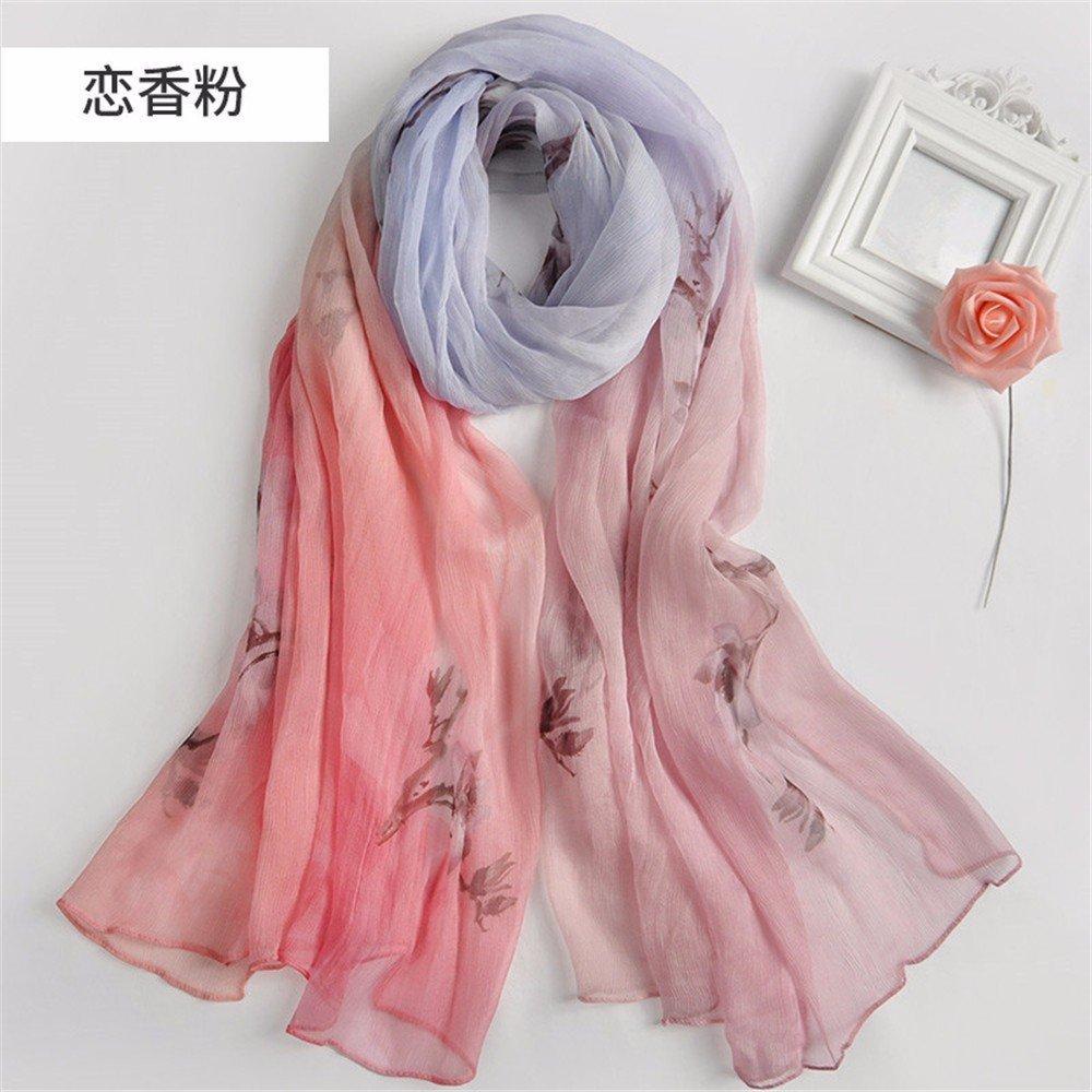 DIDIDD Bufanda-primavera y otoño señoras bufandas de seda sol de verano bufanda de seda de morera,F