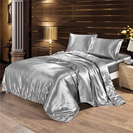 FP 4pcs Silk Sheet Set Queen King Size Satin Solid Color Bedding Set With  Deep Pocket