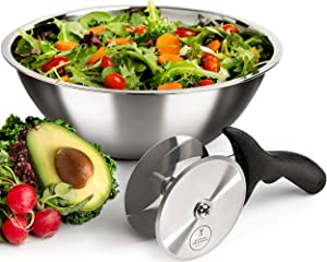 Salad Chopper Blade and Bowl – Stainless Steel Salad Cutter Bowl with Chef Grade Mezzaluna Salad Chopper – Ultra-Fast Salad Prep by Kitchen Hackables