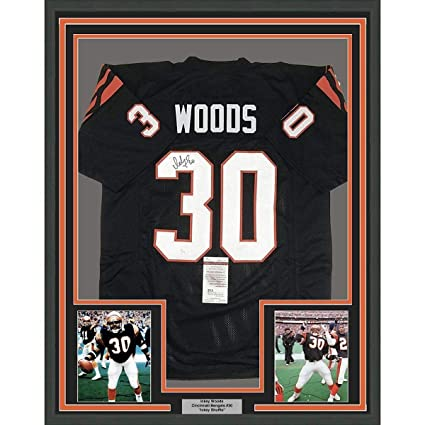 Image Unavailable. Image not available for. Color  Ickey Woods Signed Jersey  - FRAMED 33x42 Black COA - JSA Certified - Autographed NFL Jerseys cafbf3954