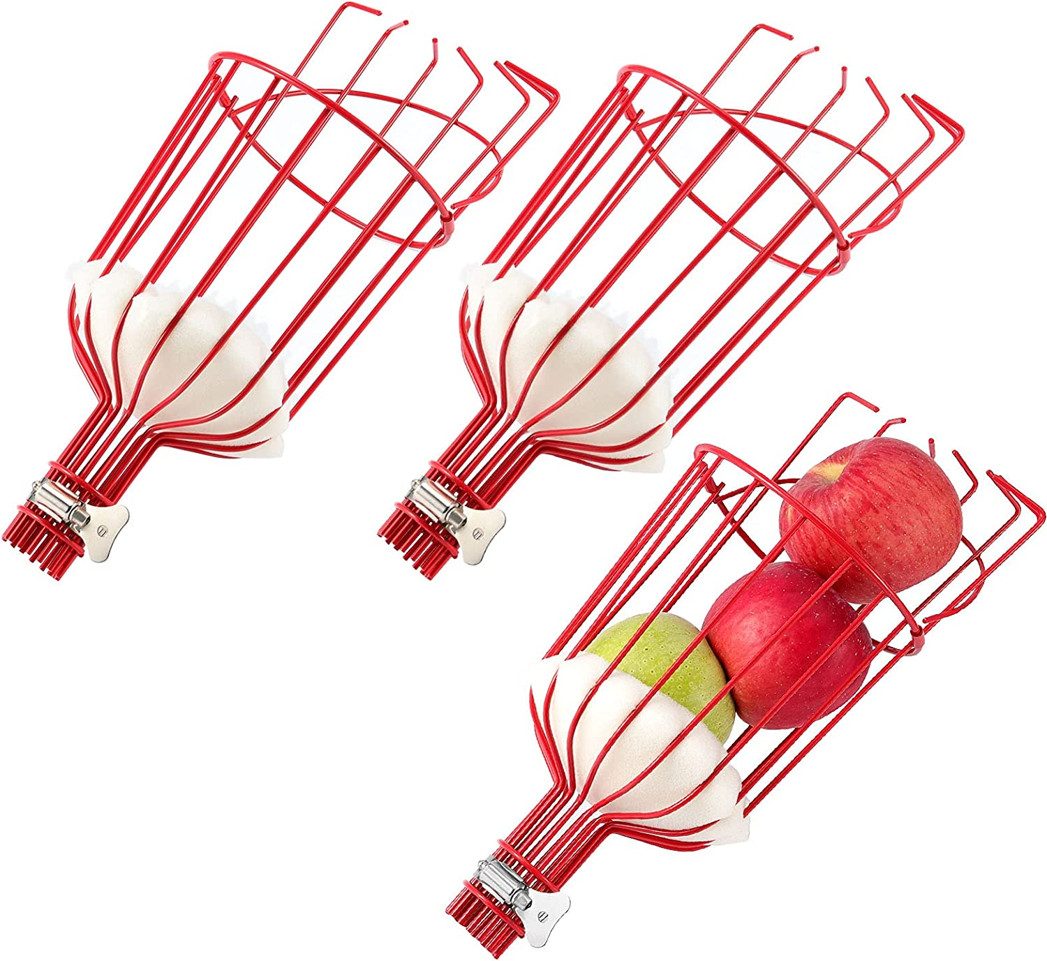 ZOENHOU 3 Pack 13 x 5.7 Inch Fruit Picker Head, Fruit Picker Tool, Fruit Picker Head Harvest Basket with Foam Cushion to Prevent Bruising for Picking Fruits