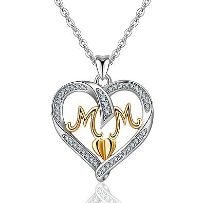 Colliers en argent pour femmes, pendentif style maman avec diamants
