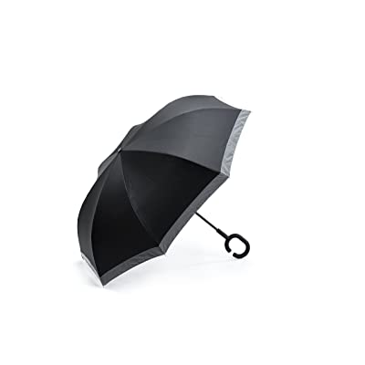 """FYI Inverted Umbrella/Shoulder Carry Bag/1"""" High Visibility Reflective Strip/C-Shapped handle/Windproof/Double Layer/"""