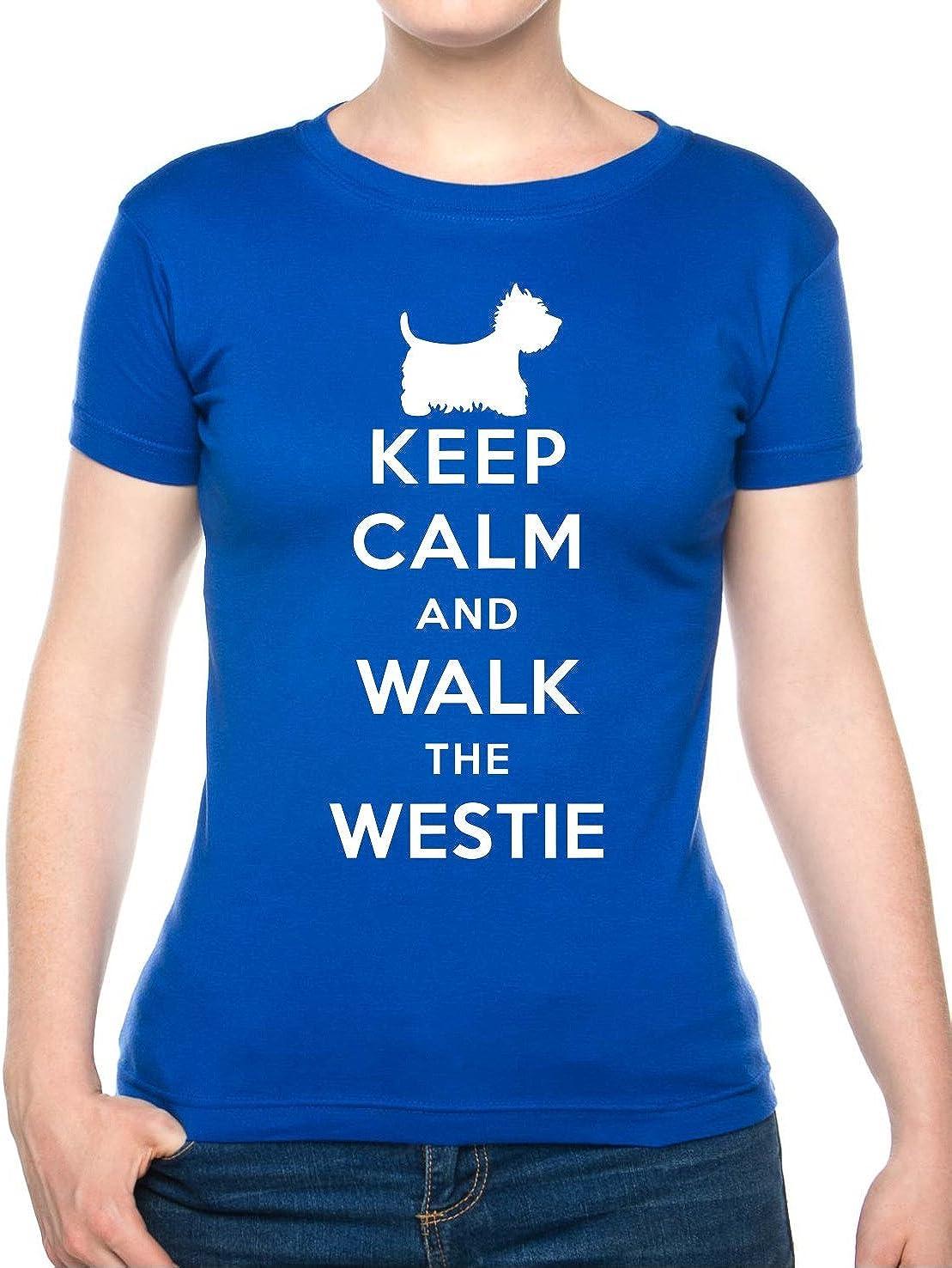 Keep Calm Walk The Westie KC Dog Lovers Gift Ladies T Shirt Size S-XXL
