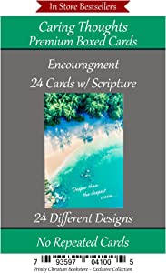 Encouragement Cards (No Repeated Cards) 24 Design Christian/Religious Greeting Card Assortment ~ Scripture in every card