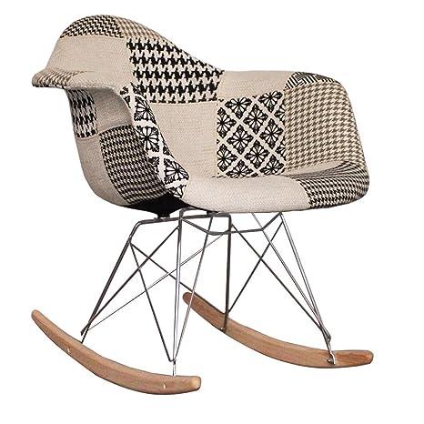 Sedia Dondolo Eames.Eames Style Rar Sedia A Dondolo In Tessuto Per Allattamento Motivo Patchwork Colore Nero E Bianco