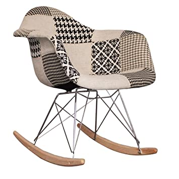 Eames Style Fabric RAR Rocking (Nursing) Chair   Black And White Patchwork