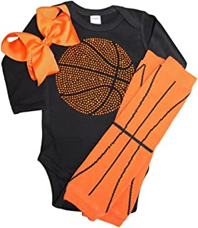FanGarb Rhinestone Baby Girls Basketball Black Outfit, Orange Basketball Leg wamers & Bow