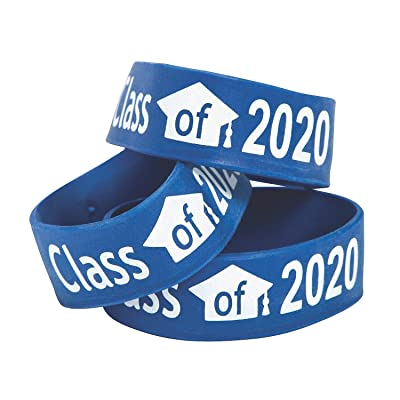 Fun Express Blue Class of 2020 Big Band Bracelets - Jewelry - 12 Pieces: Toys & Games