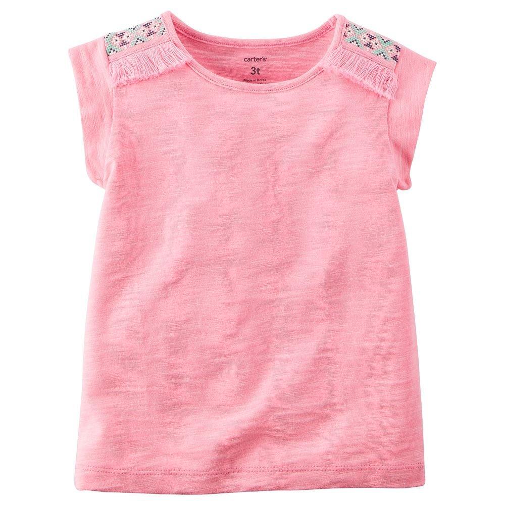 Carters Girls Flutter-Sleeve Geo Print Tee Pink