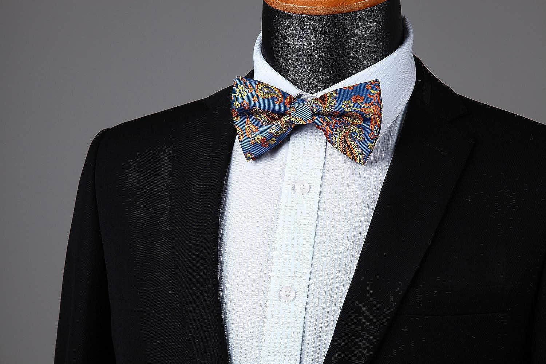 ENLISION Pre-tied Bow Tie Floral Bowtie for Men Jacquard Woven Wedding Party Handkerchief Pocket Square Set