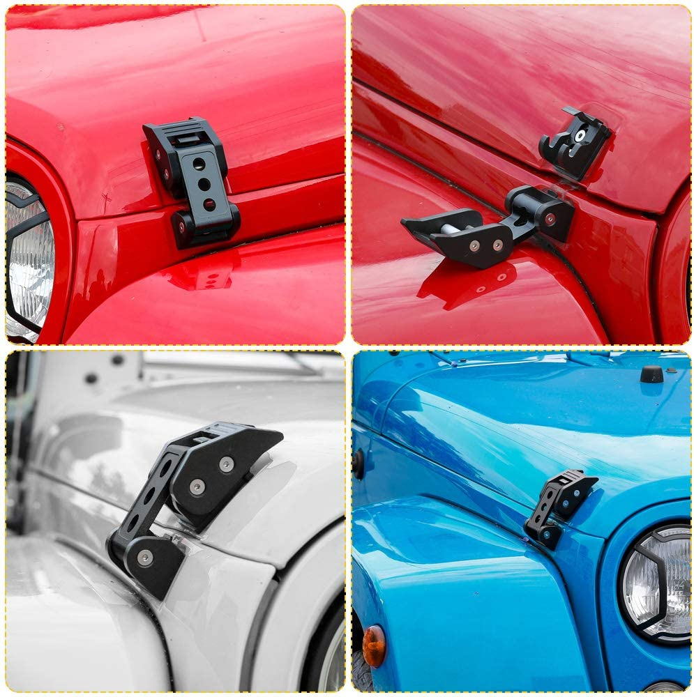 Voodonala Black Aluminum Hood Latches Hood Lock Catch for 2007-2018 Jeep Wrangler JK JKU