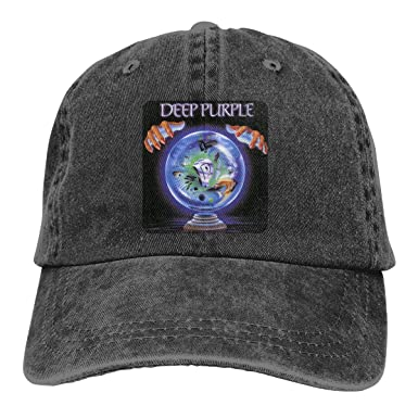 Deep Purple Unisex Washed Baseball Cap Adjustable Cowboy Cotton Ball Hat  Black 2a3377be808