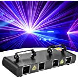 DJ Lights, BSYUN 4 Lens RGBY Sound Activated DJ Led Projector Party Lights Compatible with DMX512 Controller for…