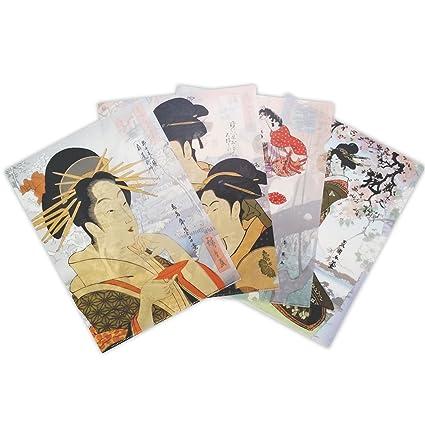 Plastic Sleeve, Ukiyo-e Bijinga Japanese art Set Of 4 In Assorted Designs Wonderful