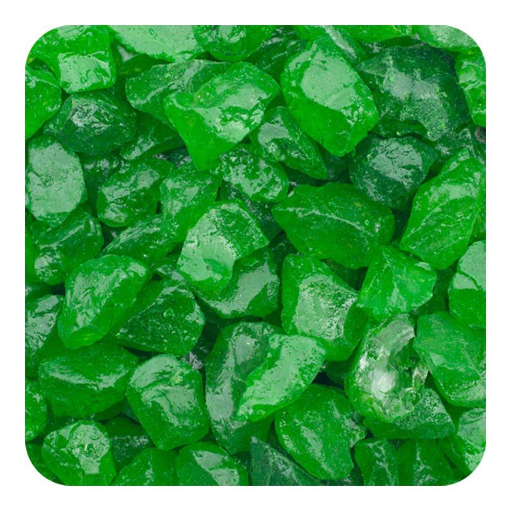 Sandtastik Preschool Craft Colored ICE Real Glass Gems, Scatters 10 lb (4.5 kg) Box; 4 - 10 mm - Green