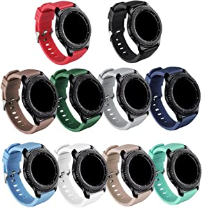 GinCoband Samsung Gear S3 Frontier Bands,10-PACK Sports Silicone Wristband for Samsung Gear S3 Frontier/Gear S3 Classic/Galaxy Watch 46mm (10-Pack, Watch Buckle design)