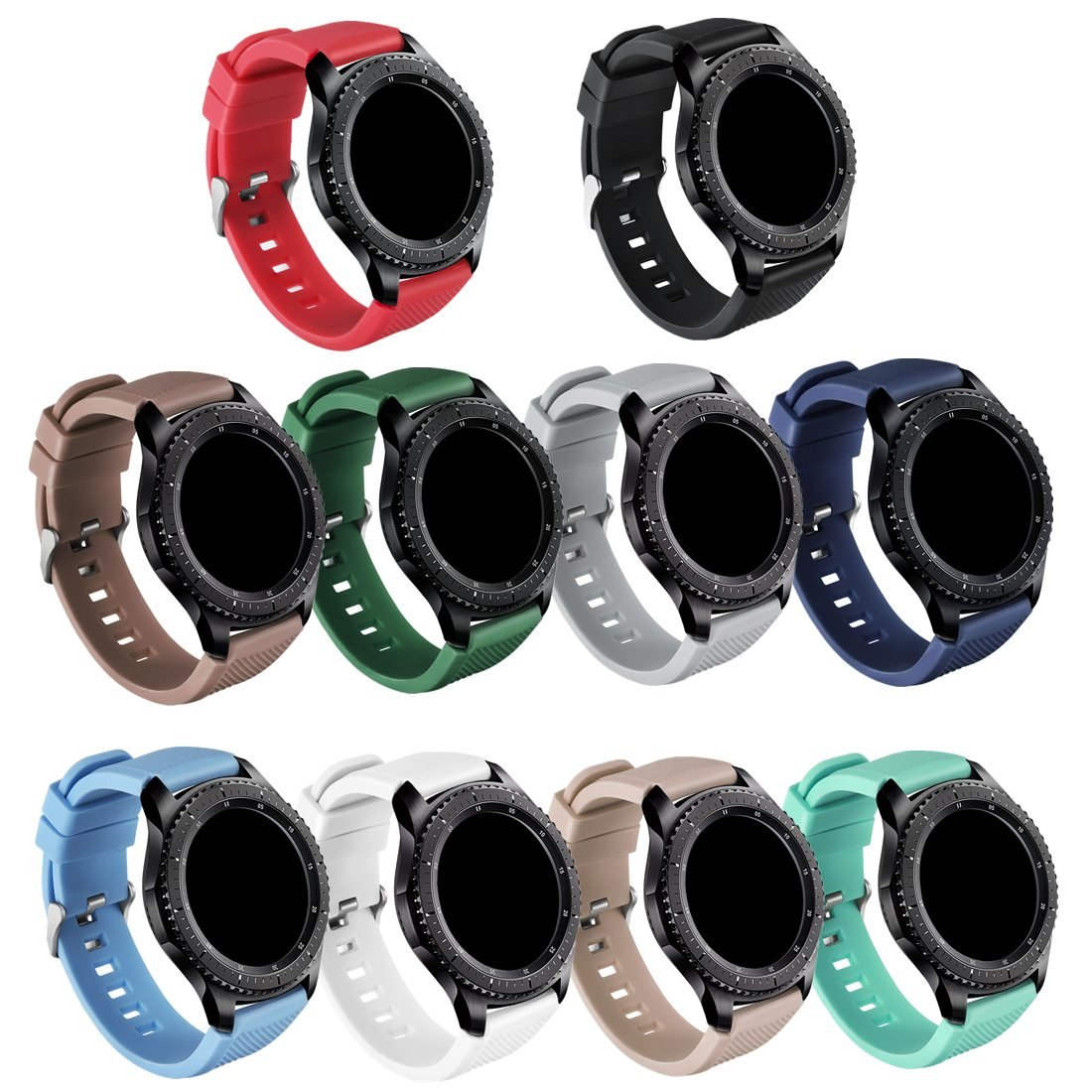 GinCoband Samsung Gear S3 Bands Replacement Accessories for Samsung Gear S3 Frontier and Gear S3 Classic Smart Watch 10 Color No Tracker (10-Pack, Watch Buckle Design) by GinCoband