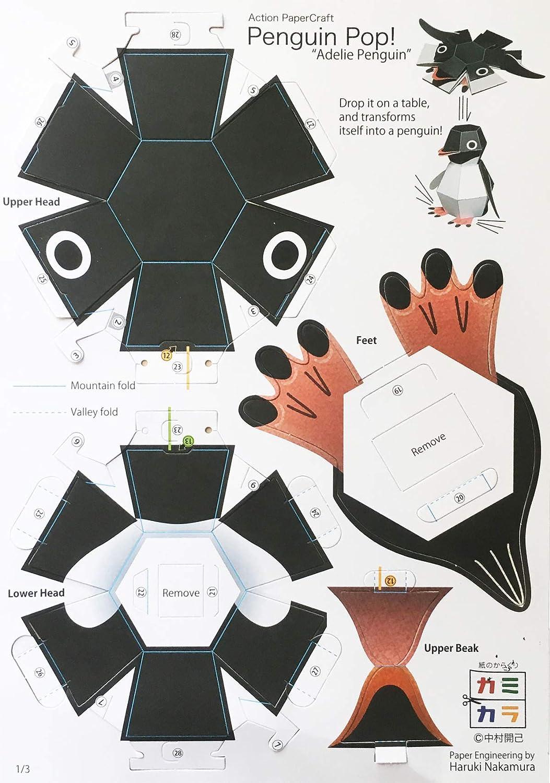 Kamikara Penguin POP! Action Paper Craft kit by Haruki Nakamura