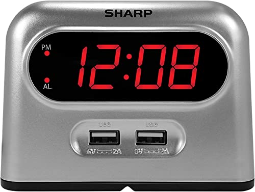 Sharp Digital Alarm Clock with 2 Ultra Fast Charging USB Quick Charge Ports – Twice as Fast as Conventional USB Chargers – Battery Back-up – Easy to Use