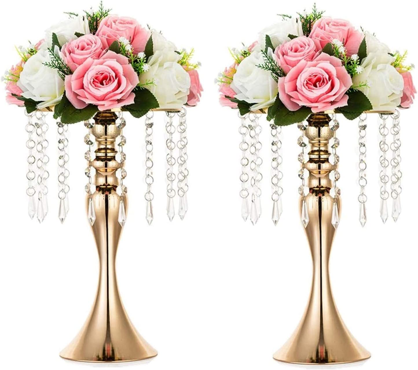 Sziqiqi Floral Centerpiece Riser Gold Tall Flower Centerpiece Stand with Crystal Beads for Event Party Wedding Reception Center Piece Floral Arrangements, Pack of 2 Gold 13.8''/35cm