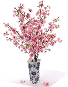Larskilk Dark Pink Japanese Cherry Blossoms, Four 36 Inch Blossom Branches, Wedding, Party, Event, Xmas Holiday Décor, Japan's National Flower