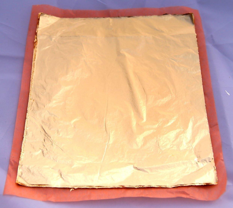 El Natural Produkte aus der Natur 100 Blatt Schlagmetall mittelgold lose 16 x 16 cm zum Vergolden Blattmetall