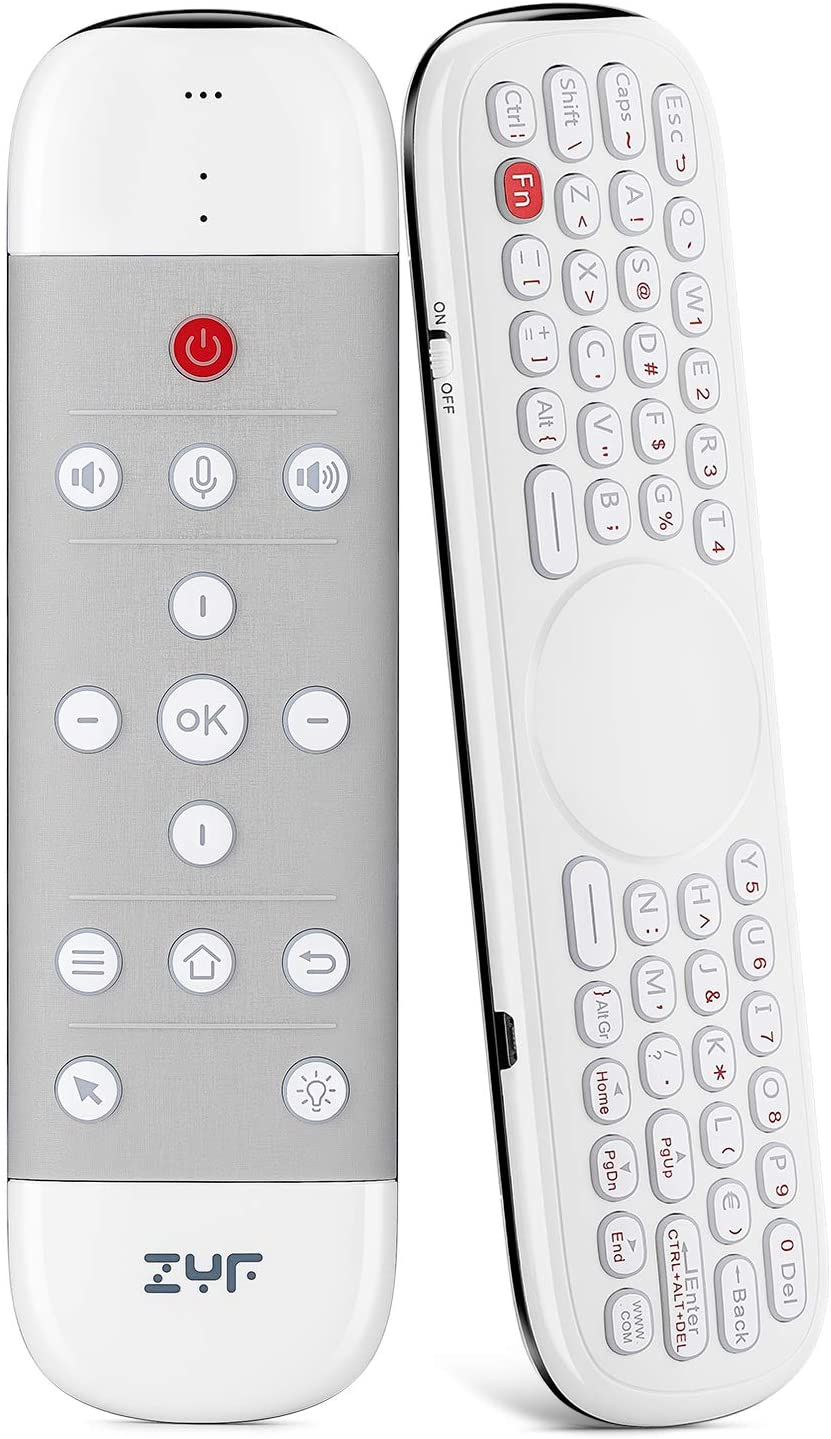 ZYF Z10 Air Mouse Remote, 2.4G Backlit Voice Remote Control with Wireless Keyboard Touchpad, Anti-Lost, for Nvidia Shield, Android TV Box, PC, Projector, HTPC (Not Suitable for Smart TV) - White