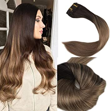 Amazon full shine 18 120gram 10 pcs balayage clip in hair full shine 18quot 120gram 10 pcs balayage clip in hair extensions color 2 fading solutioingenieria Choice Image