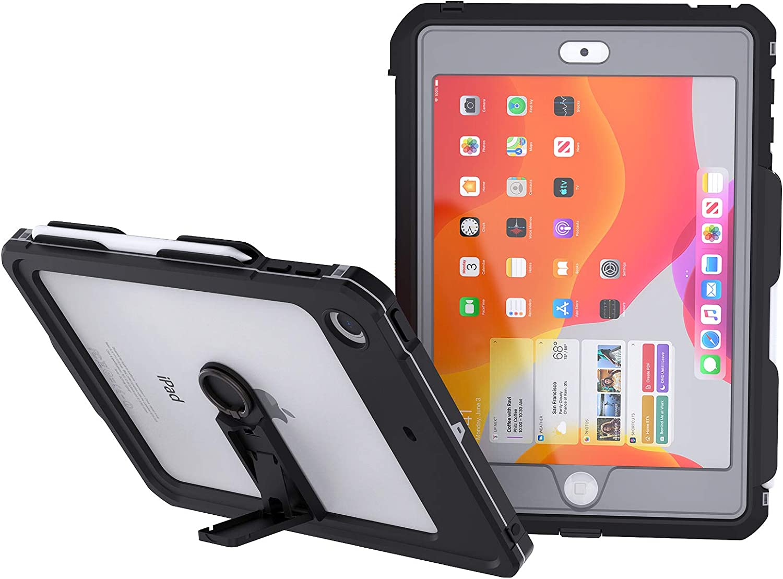 EFFUN iPad 10.2 Waterproof Case, IP68 Full Body Protection Built in Screen Protector Shockproof Snowproof Dustproof Tablet Cover for iPad 10.2/iPad7th Generation Black