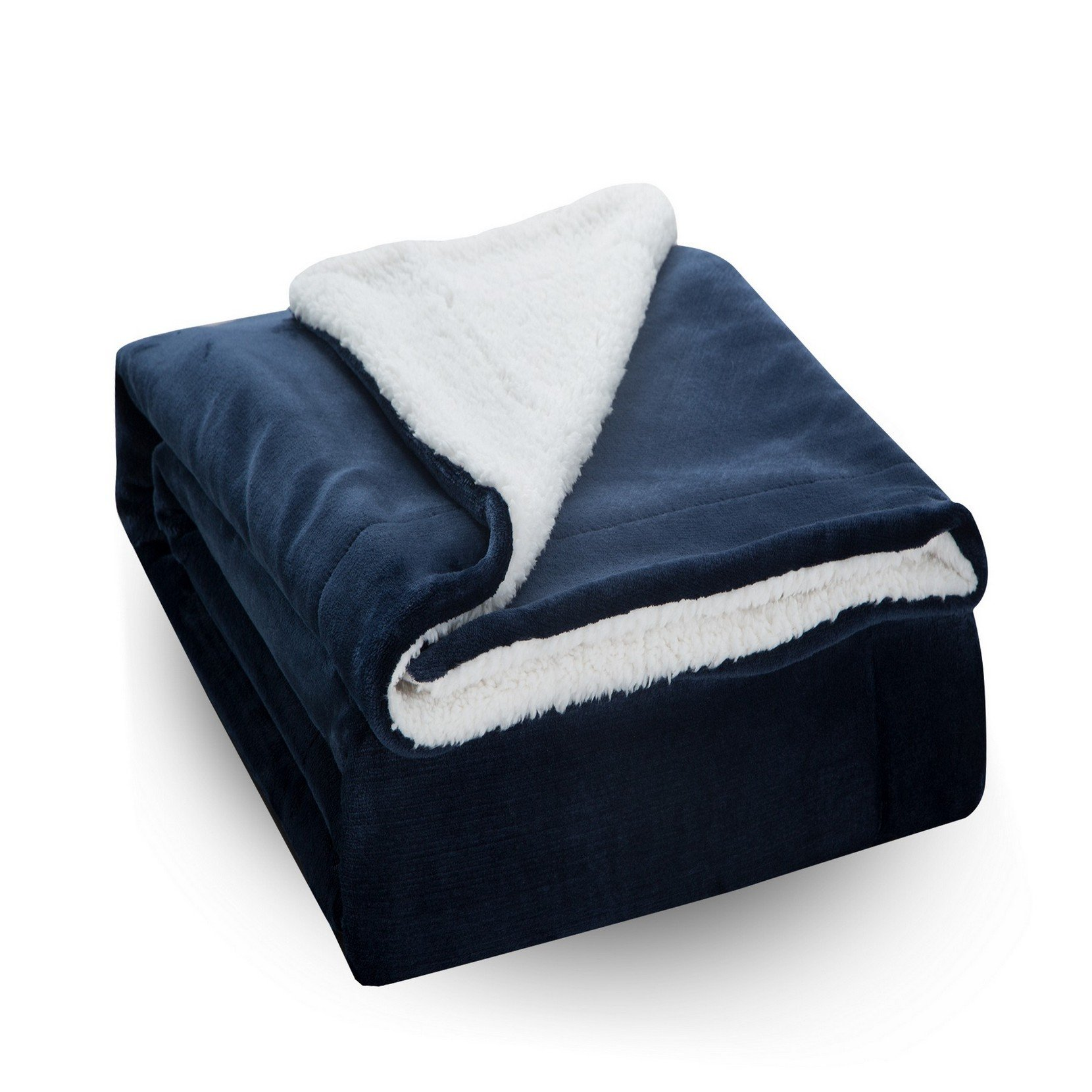 Moonen Sherpa Throw Blanket Luxurious Throw Size Brush Fabric Reversible All Season Super Soft Warm Fleece Thick Fuzzy Microplush Blanket Bed Couch Gift Blankets (Navy Blue, 50x60 inches)