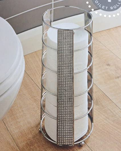 Diamante Sparkle Toilet Roll Holder Chrome Effect Finish Tall Free Standing