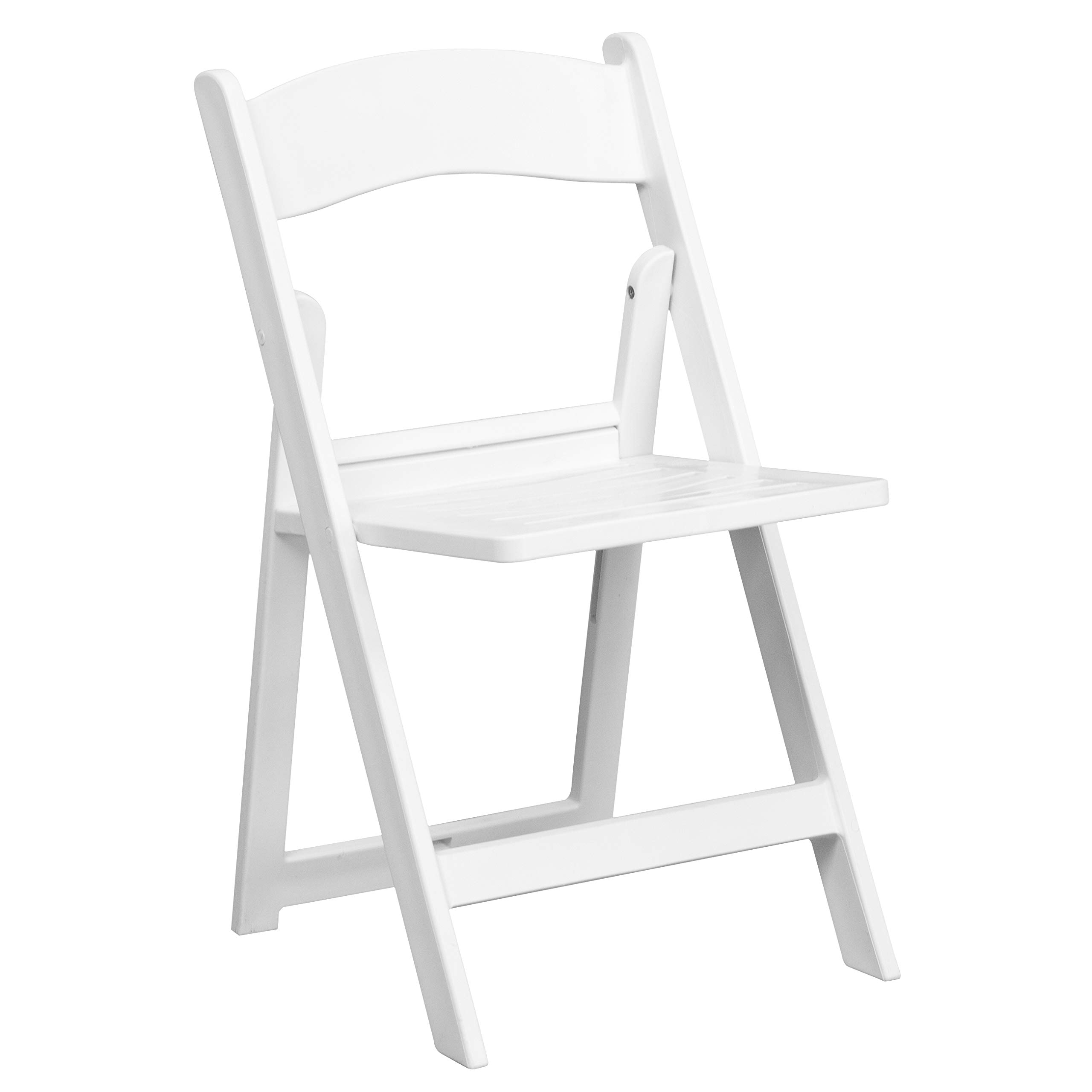 Flash Furniture HERCULES Series 1000 lb. Capacity White Resin Folding Chair with Slatted Seat by Flash Furniture