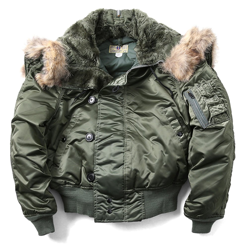US Military Air Force N-2B Parka Pilot Bomber Jacket Coat Olive Green L Large