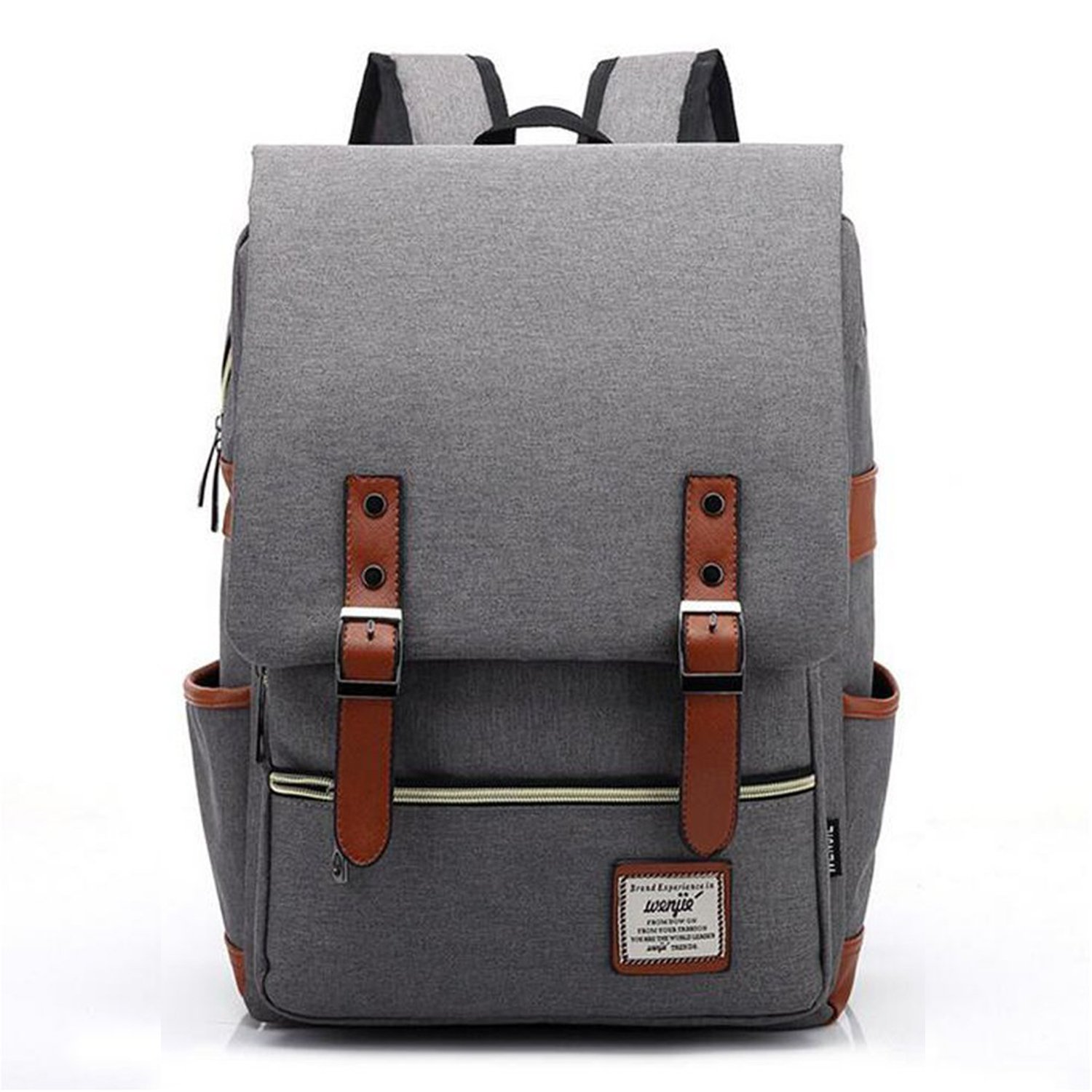 Vintage Canvas Backpack - Lightweight Canvas Laptop Outdoor Backpack, Travel Backpack with Laptop Sleeve, College School Bag with Side Pockets Canvas Rucksack for School Working Hiking (Retro Grey)