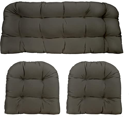 Resort Spa Home Decor 3 Piece Wicker Cushion Set – Indoor Outdoor Wicker Loveseat Settee 2 Matching Chair Cushions – Charcoal